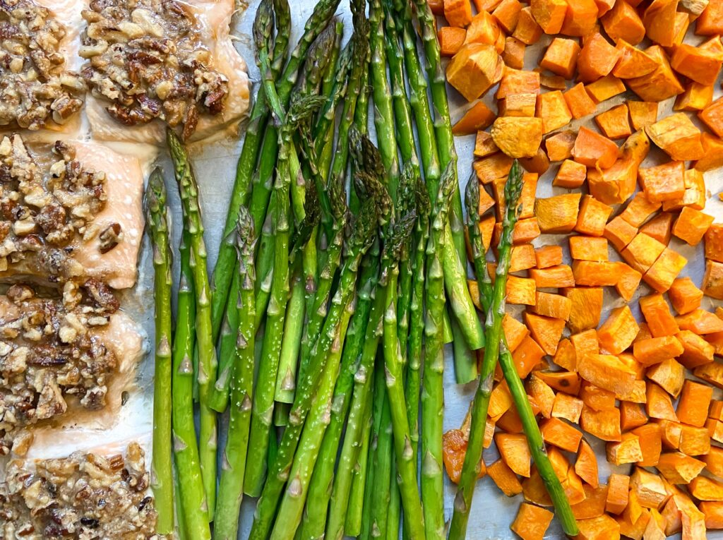 Salmon Sheet Pan Dinner with Sweet Potatoes and Asparagus   Fourganic Sisters