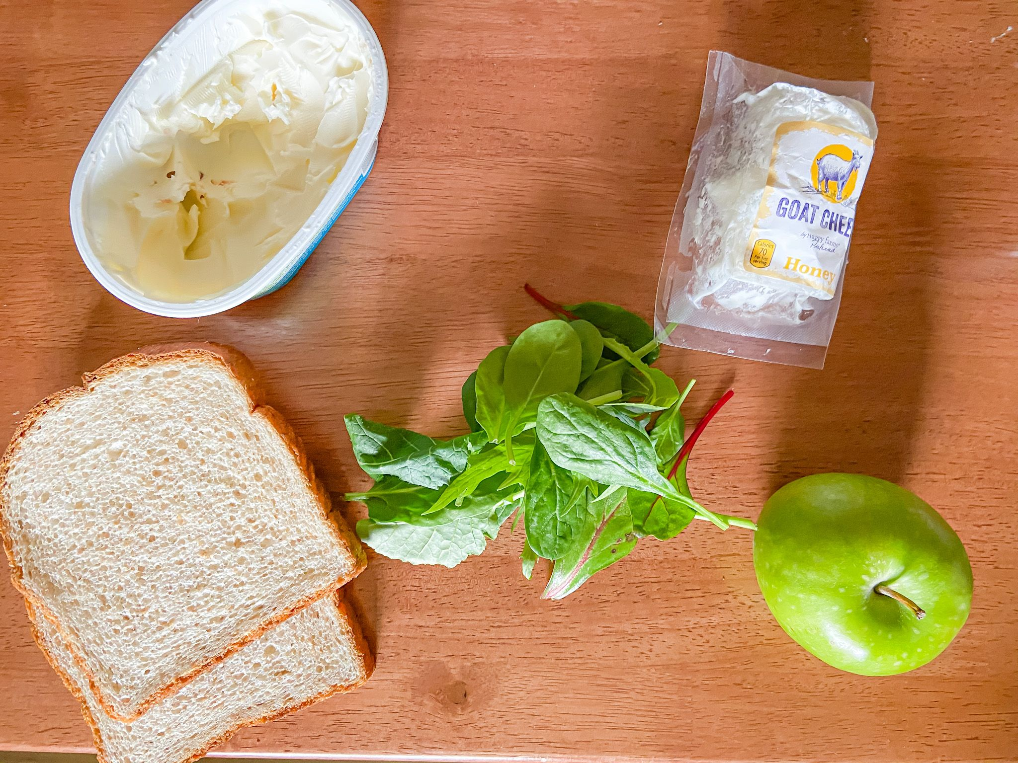 ingredients for goat cheese grilled cheese sandwich